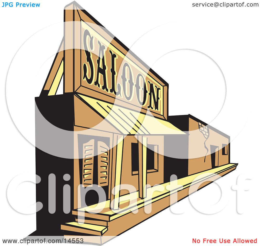 Old Saloon Facade In A Ghost Town Clipart Illustration By
