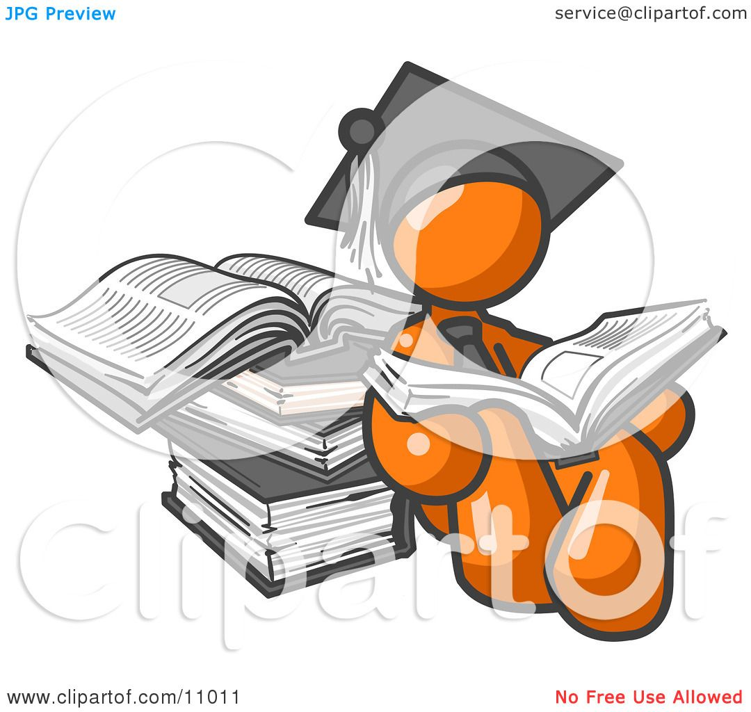Free coloring pages graduation caps - Orange Male Student In A Graduation Cap Reading A Book And Leaning Against A Stack Of Books Clipart Illustration By Leo Blanchette