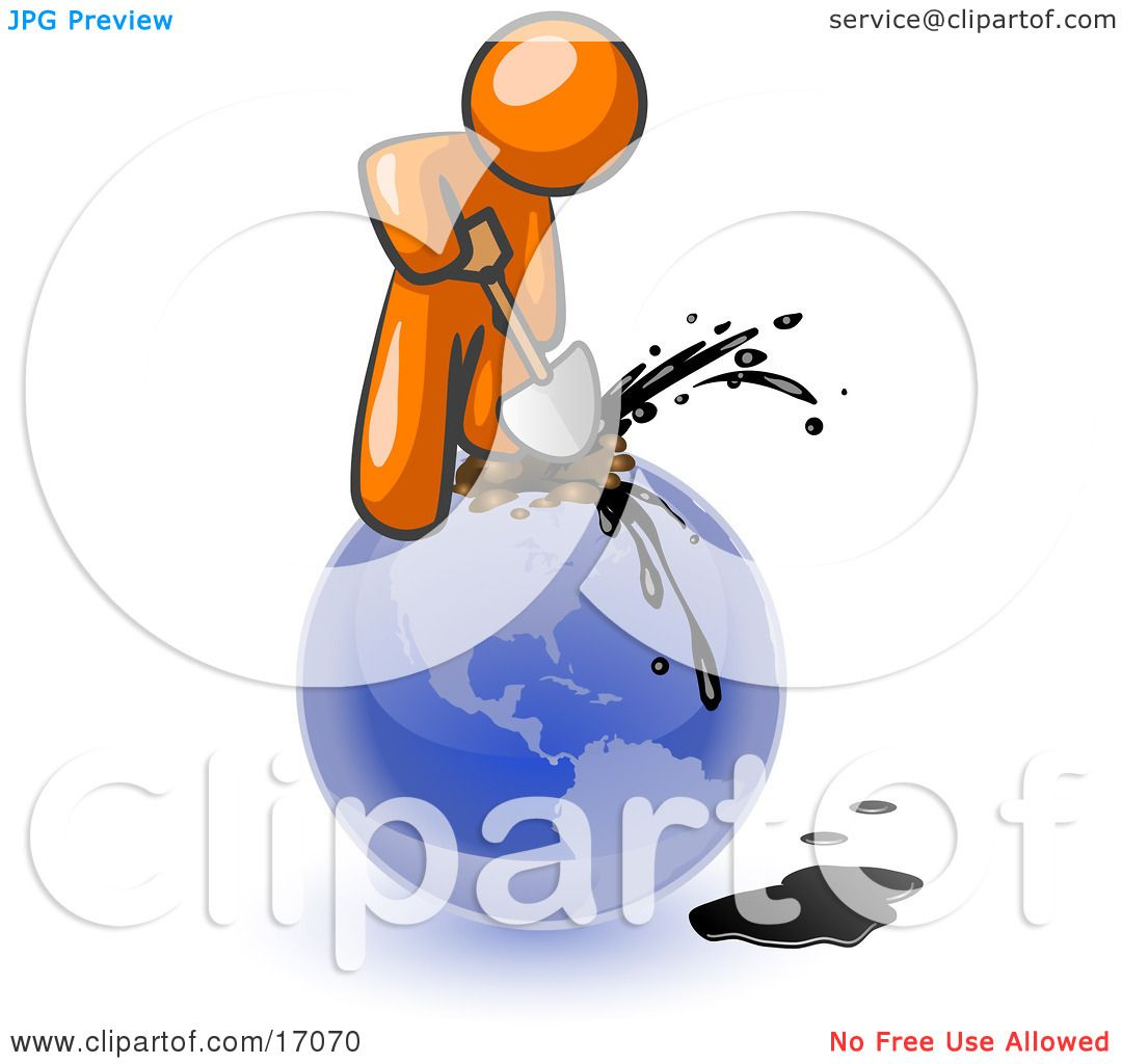 Orange man using a shovel to drill oil out of planet earth clipart orange man using a shovel to drill oil out of planet earth clipart illustration by leo blanchette publicscrutiny Images