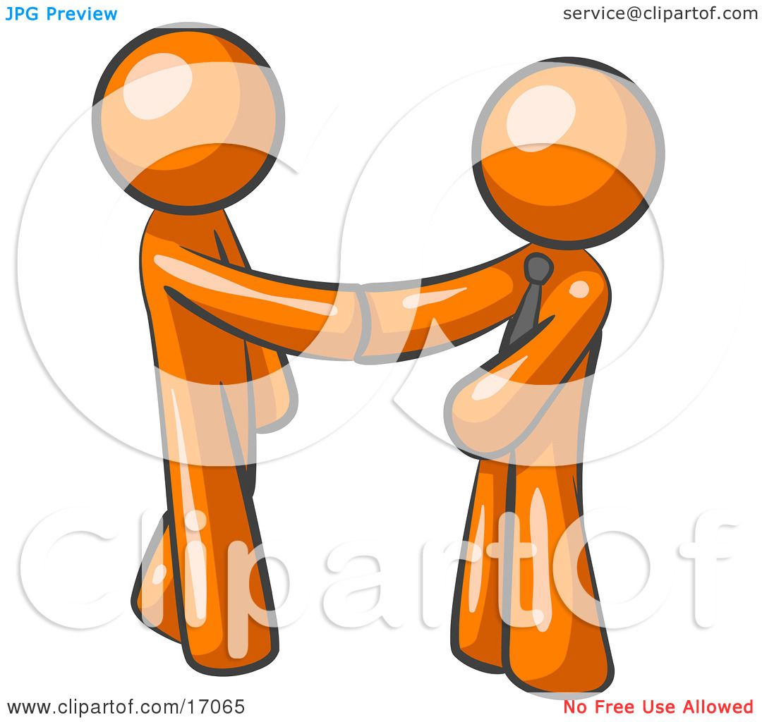 orange man wearing a tie  shaking hands with another upon shaking hands clip art black and white shaking hands clipart black and white