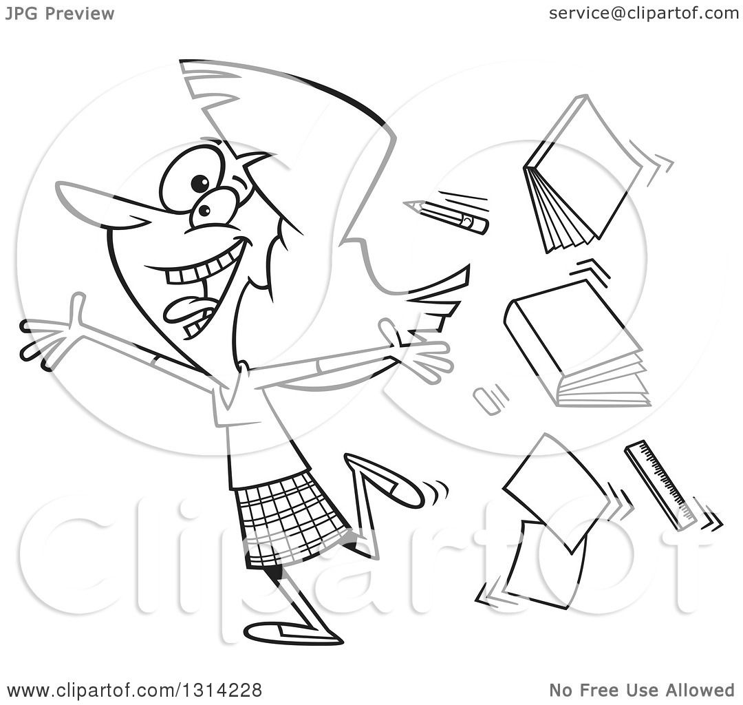 Outline Clipart Of A Black And White Cartoon Excited