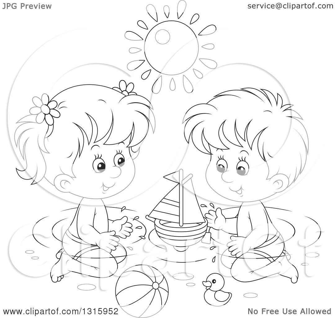 Outline Clipart Of A Cartoon Black And White Boy And Girl