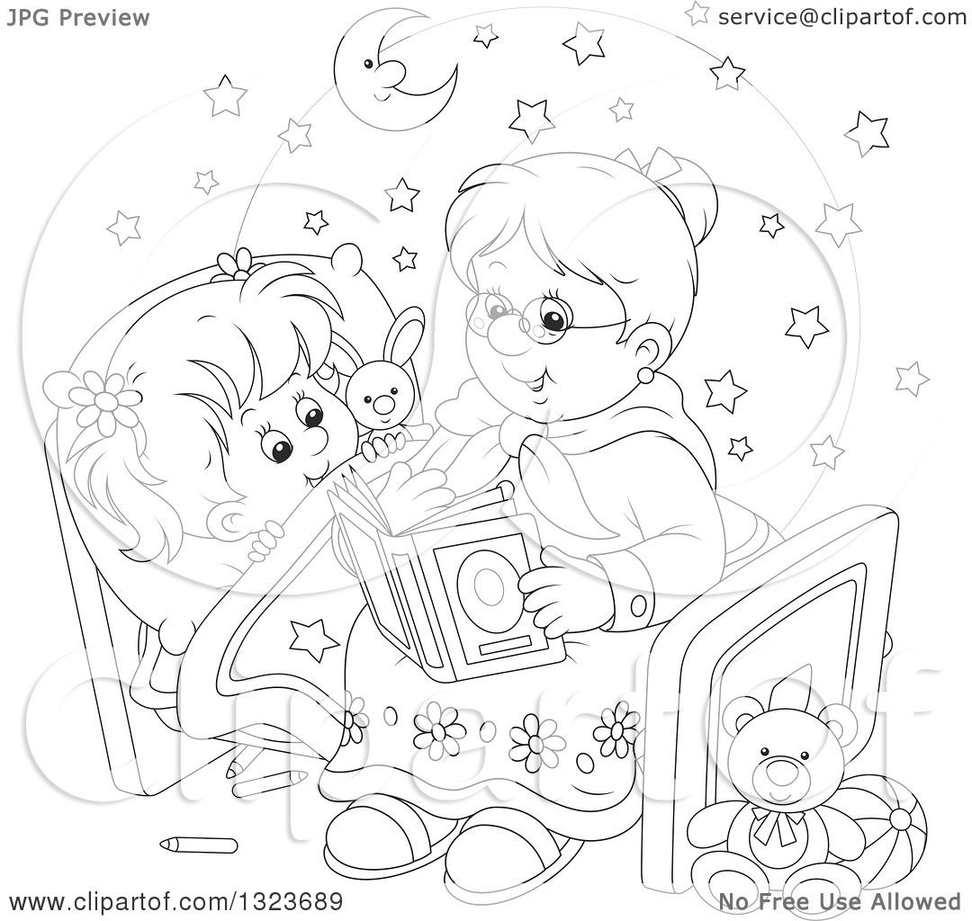Outline clipart of a cartoon black and white granny for Bedtime coloring pages