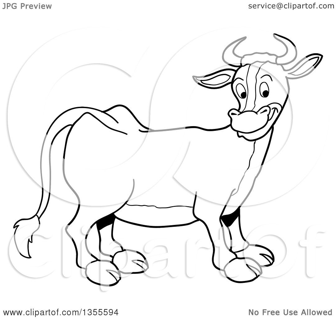 outline clipart of a cartoon black and white happy cow royalty