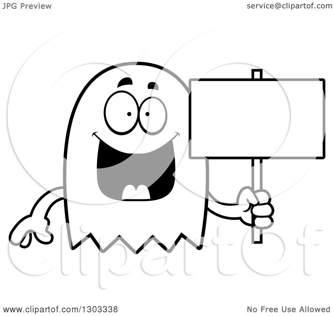 Outline Clipart Of A Cartoon Black And White Happy Ghost Character