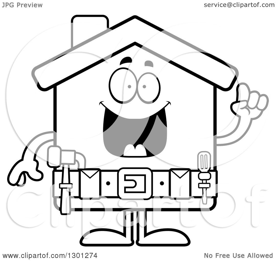 Outline Clipart of a Cartoon Black and White Happy Smart Home ...