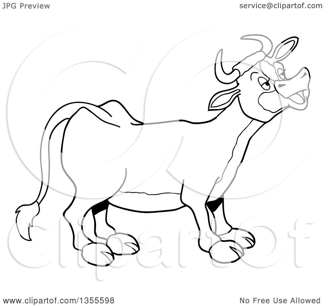 outline clipart of a cartoon black and white mooing cow royalty