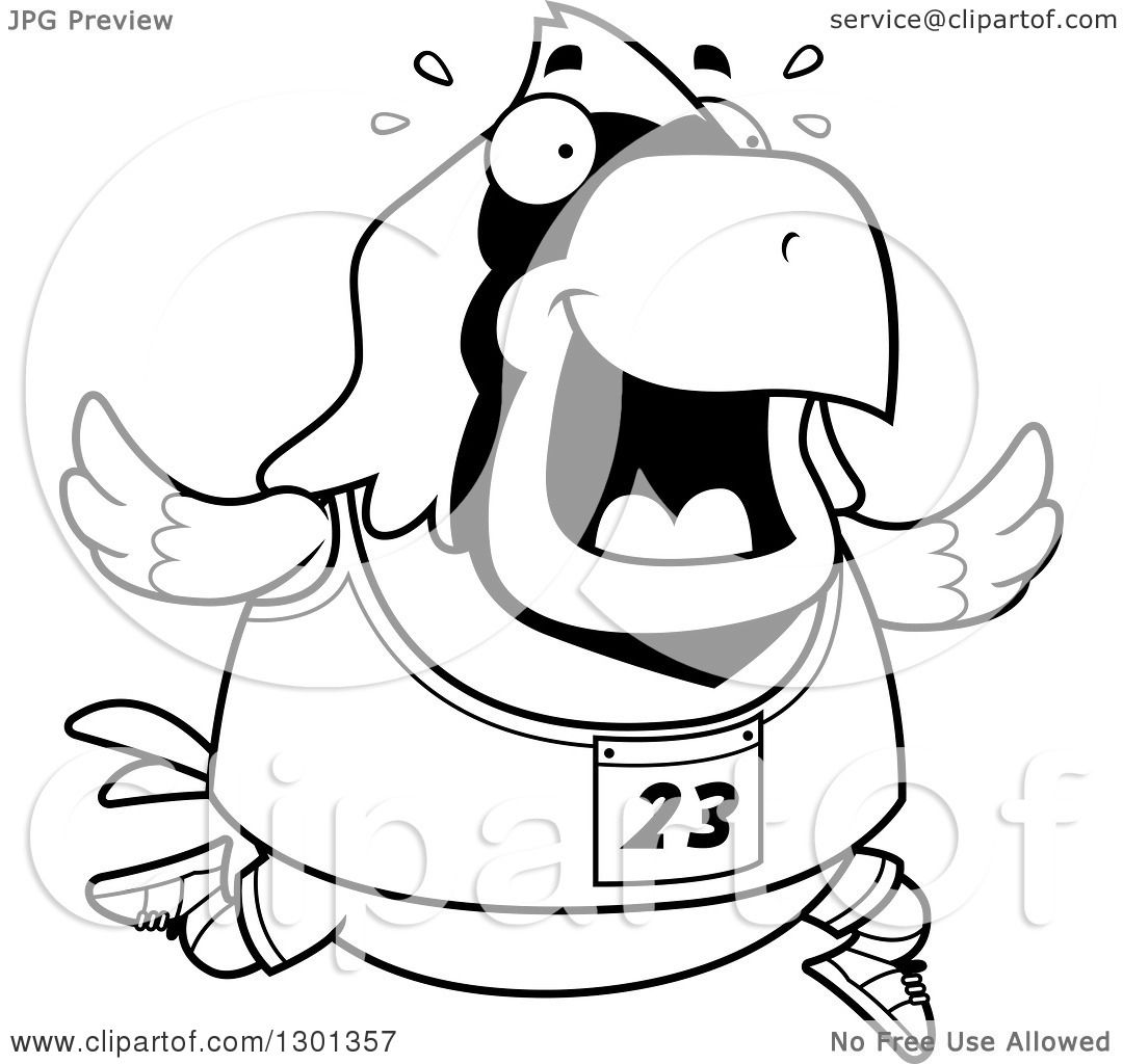 outline clipart of a cartoon black and white sweaty chubby