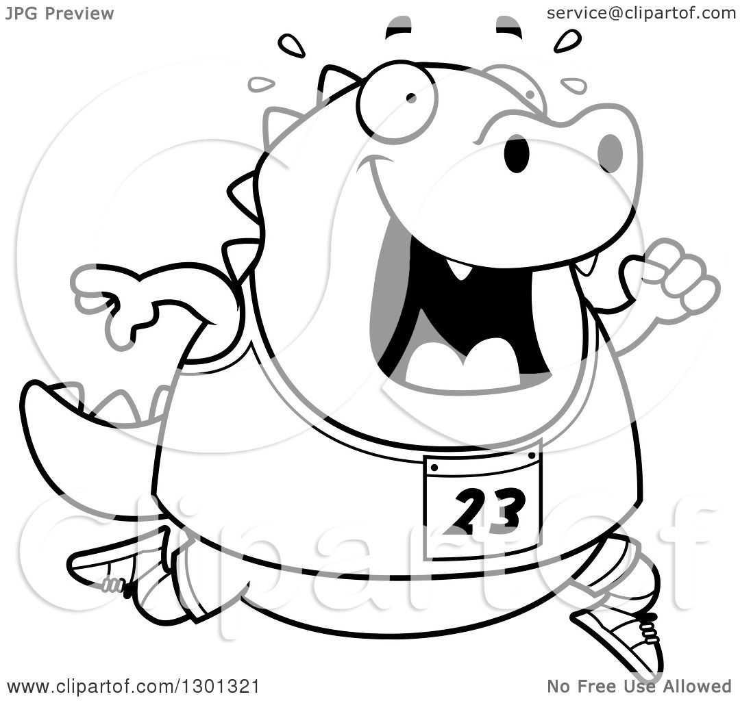 Outline Clipart of a Cartoon Black and White Sweaty Chubby Lizard ... for Clipart Lizard Black And White  83fiz