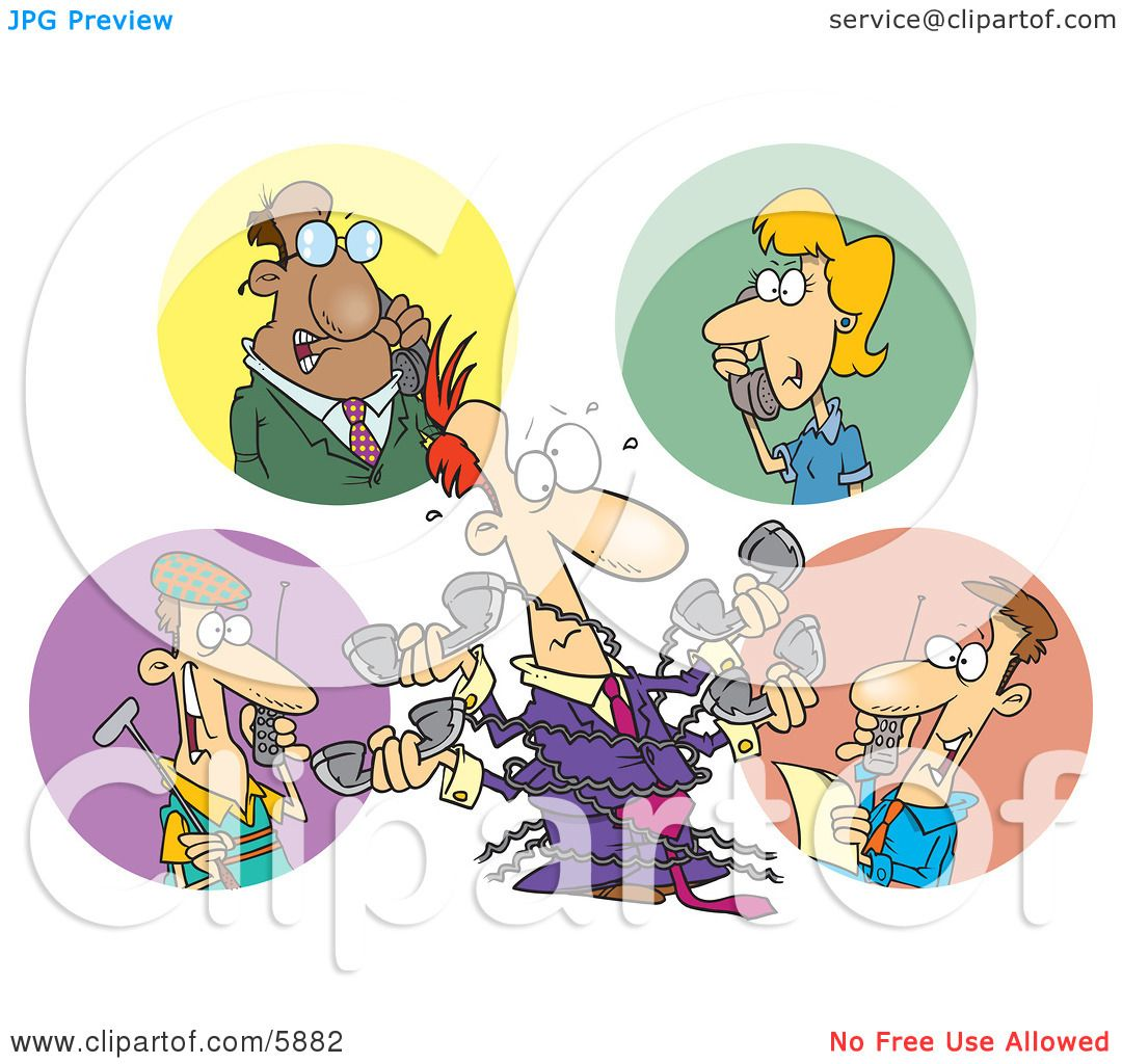 People Chatting On Phones During Different Tasks Clipart