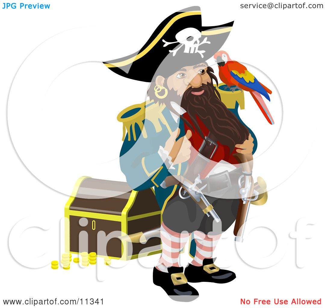 Pirate Standing by a Treasure Chest and Talking to the ...