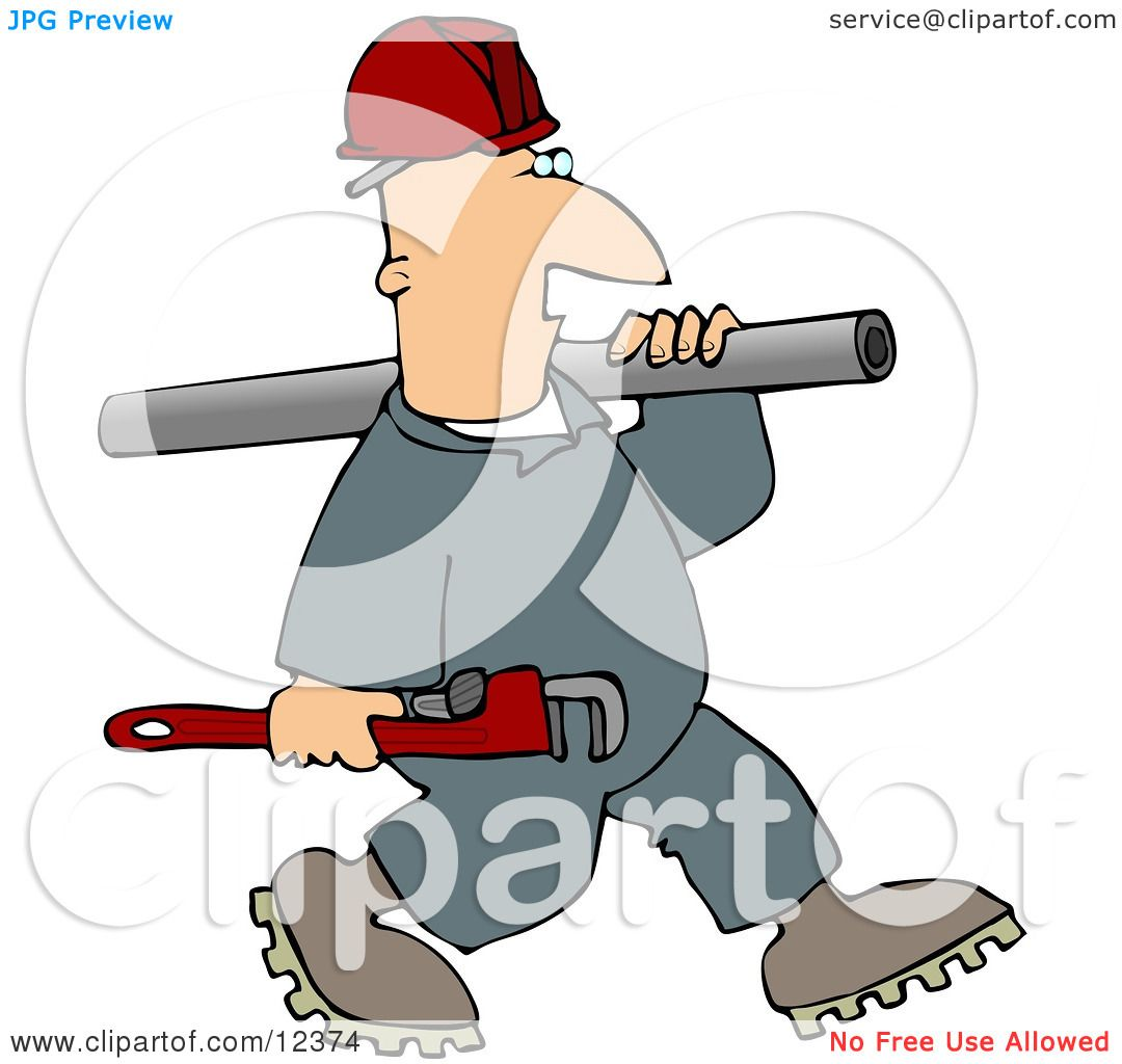 plumber man carrying a wrench and pipe clipart picture by djart 12374. Black Bedroom Furniture Sets. Home Design Ideas