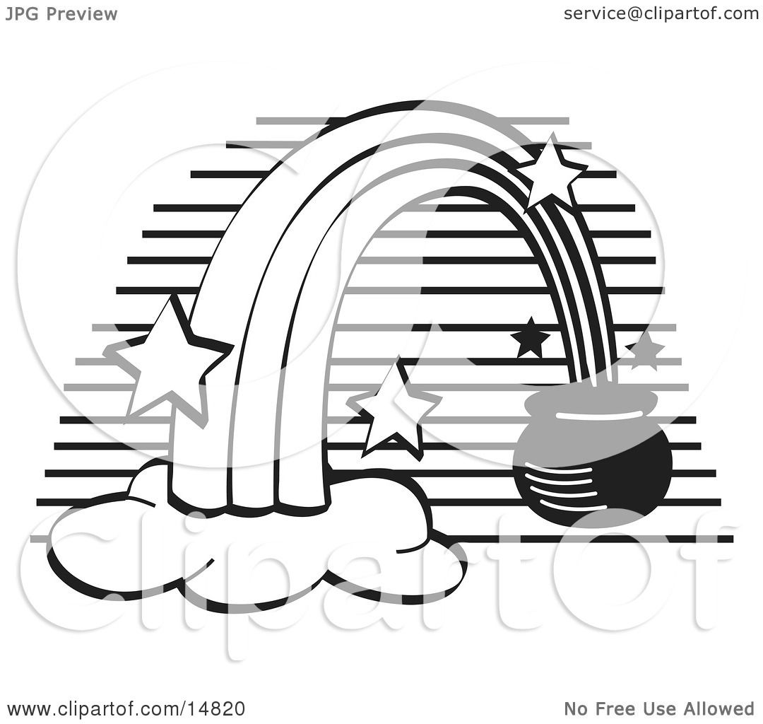 Pot of Gold at the End of a Rainbow, Black and White Clipart ...