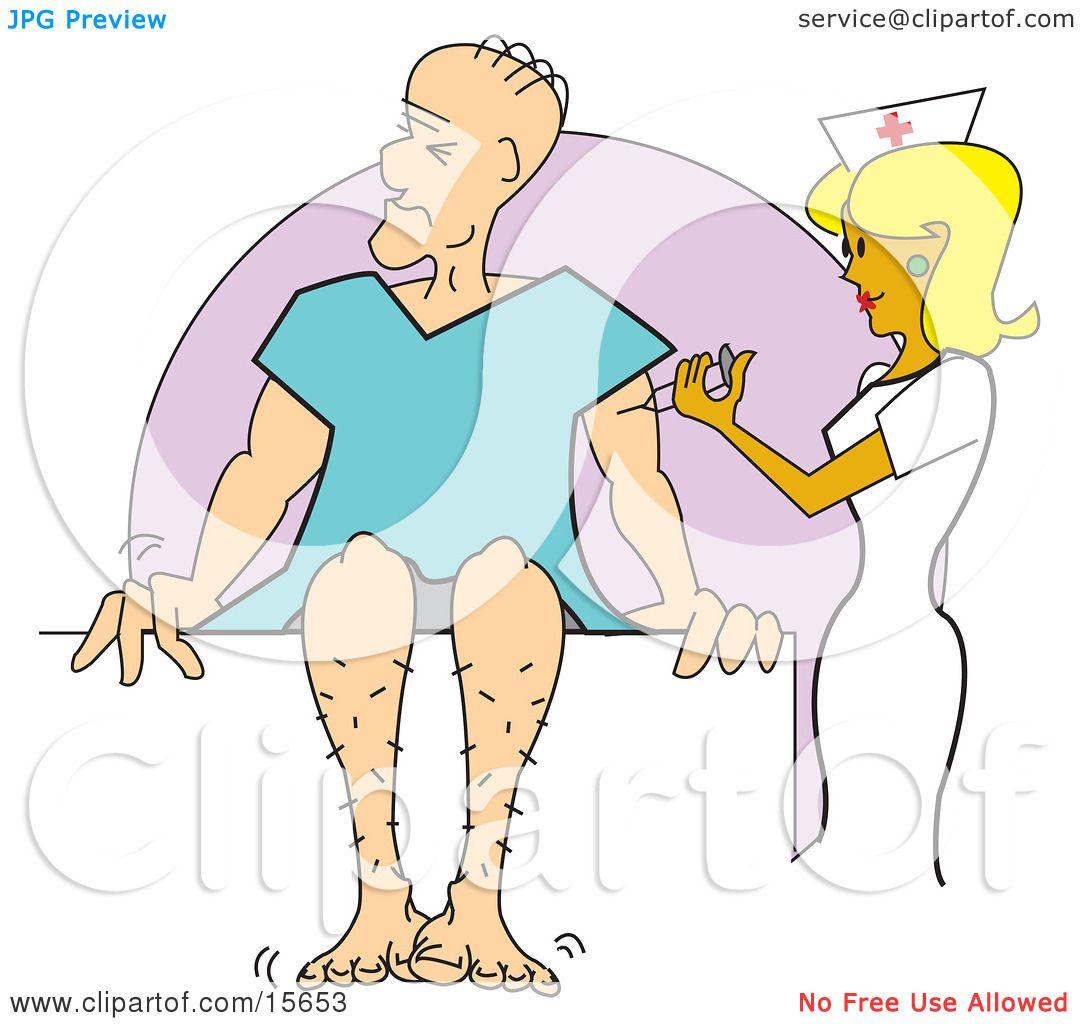 Pretty Blond Female Nurse Giving A Man A Vaccination Shot As He Sits