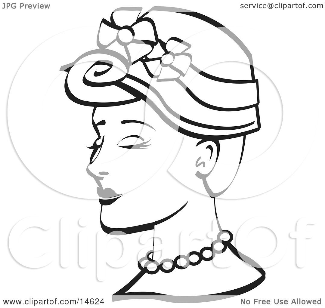 Pretty Young Woman Wearing A Hat With Flowers And A Pearl Necklace, Black  And White Clipart Illustration By Andy Nortnik