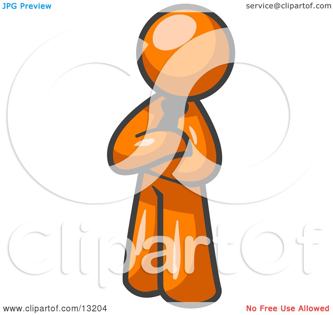 Proud Orange Man Standing With His Arms Crossed Clipart ...