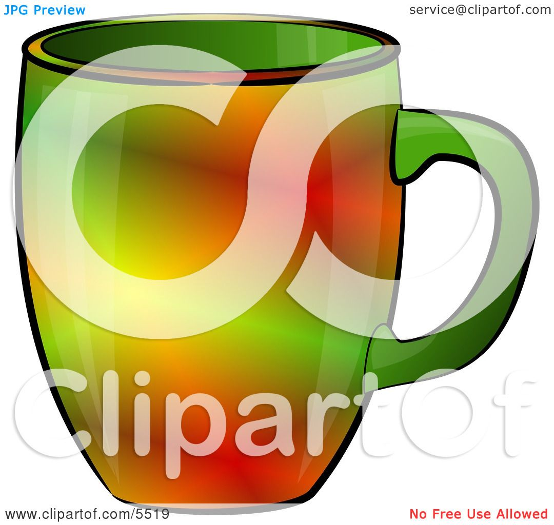Red & Green Colored Coffee Cup Clipart Illustration by ...