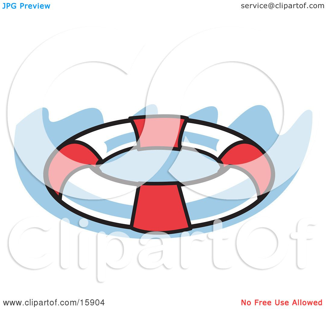 red and white round life preserver in water clipart illustration by andy nortnik 15904. Black Bedroom Furniture Sets. Home Design Ideas