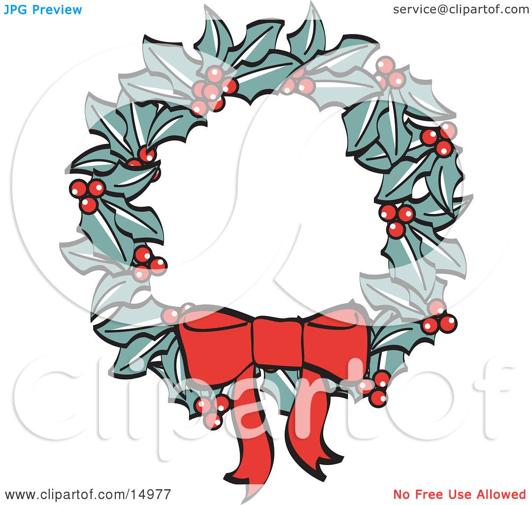 Red Bow On A Christmas Wreath Made Of Holly Retro Clipart