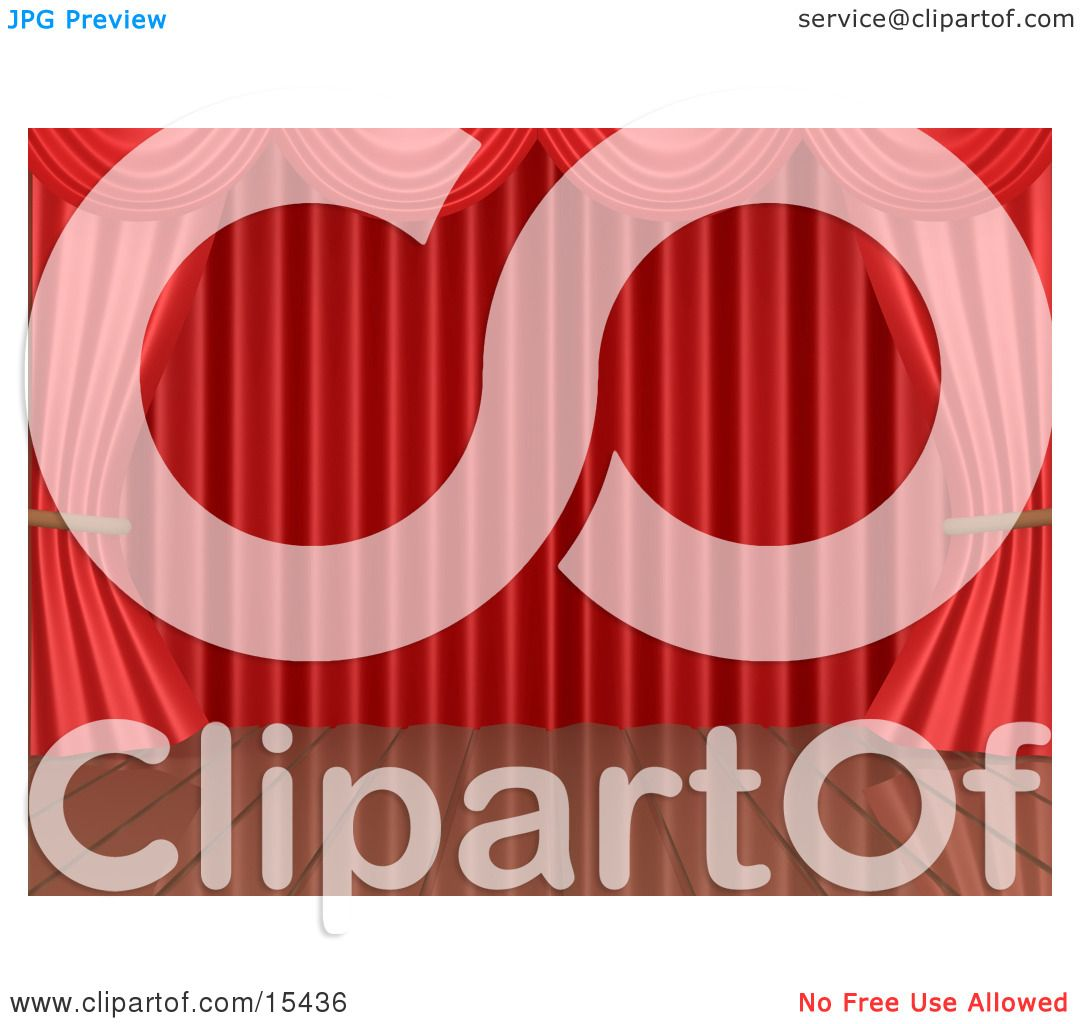 Free coloring pages of stage curtains - Red Theatre Curtains Framing An Empty Wooden Stage Clipart Illustration Image By 3pod