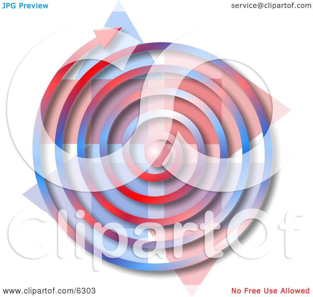 Red, White, Blue Spiral Arrow Clipart Picture by djart #6303