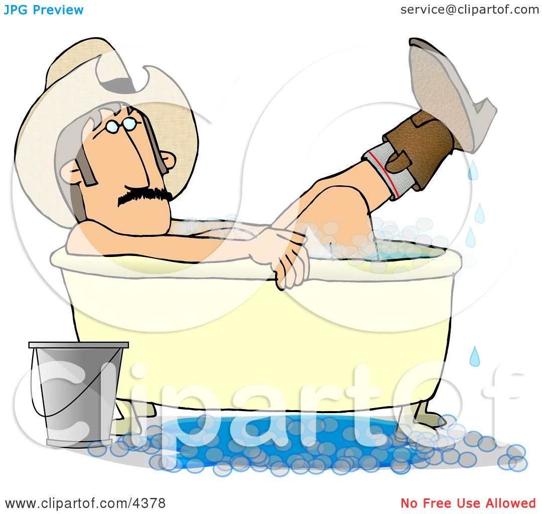 Redneck Cowboy Bathing With Hat And Boots On Clipart By