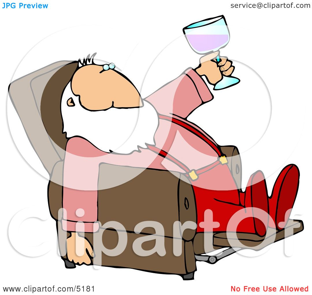 Relaxed Santa Drinking Wine In His Favorite Recliner Chair