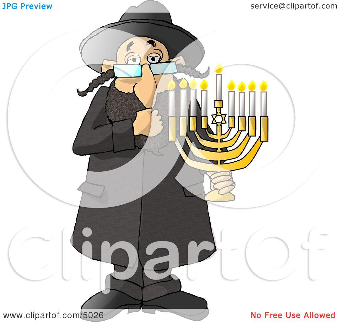 Religious Rabbi Jew Holding A Lit Jewish Menorah Clipart