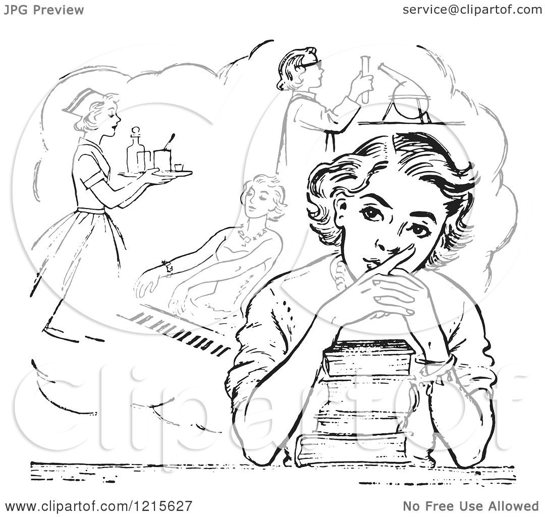 retro vector clipart of a vintage teen high school girl retro vector clipart of a vintage teen high school girl daydreaming of careers over books in black and white royalty illustration by picsburg