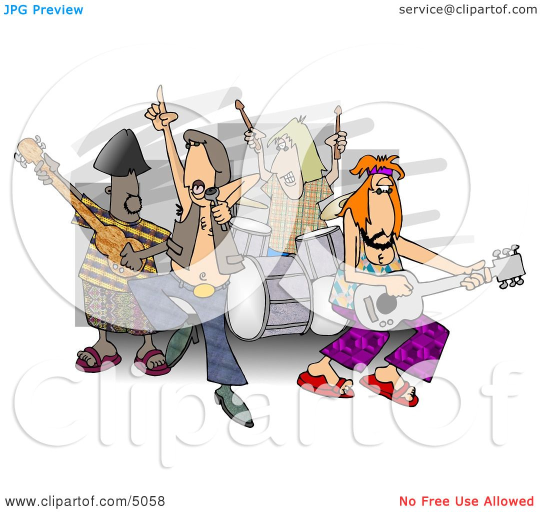 Rock And Roll Band Members Playing Music Clipart By Djart
