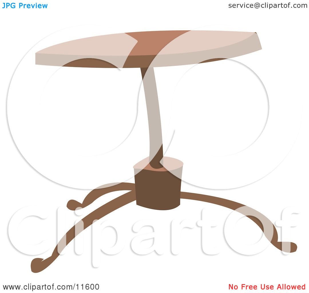 Clip Art Coffee Table: Round Wooden Coffee Table Clipart Illustration By