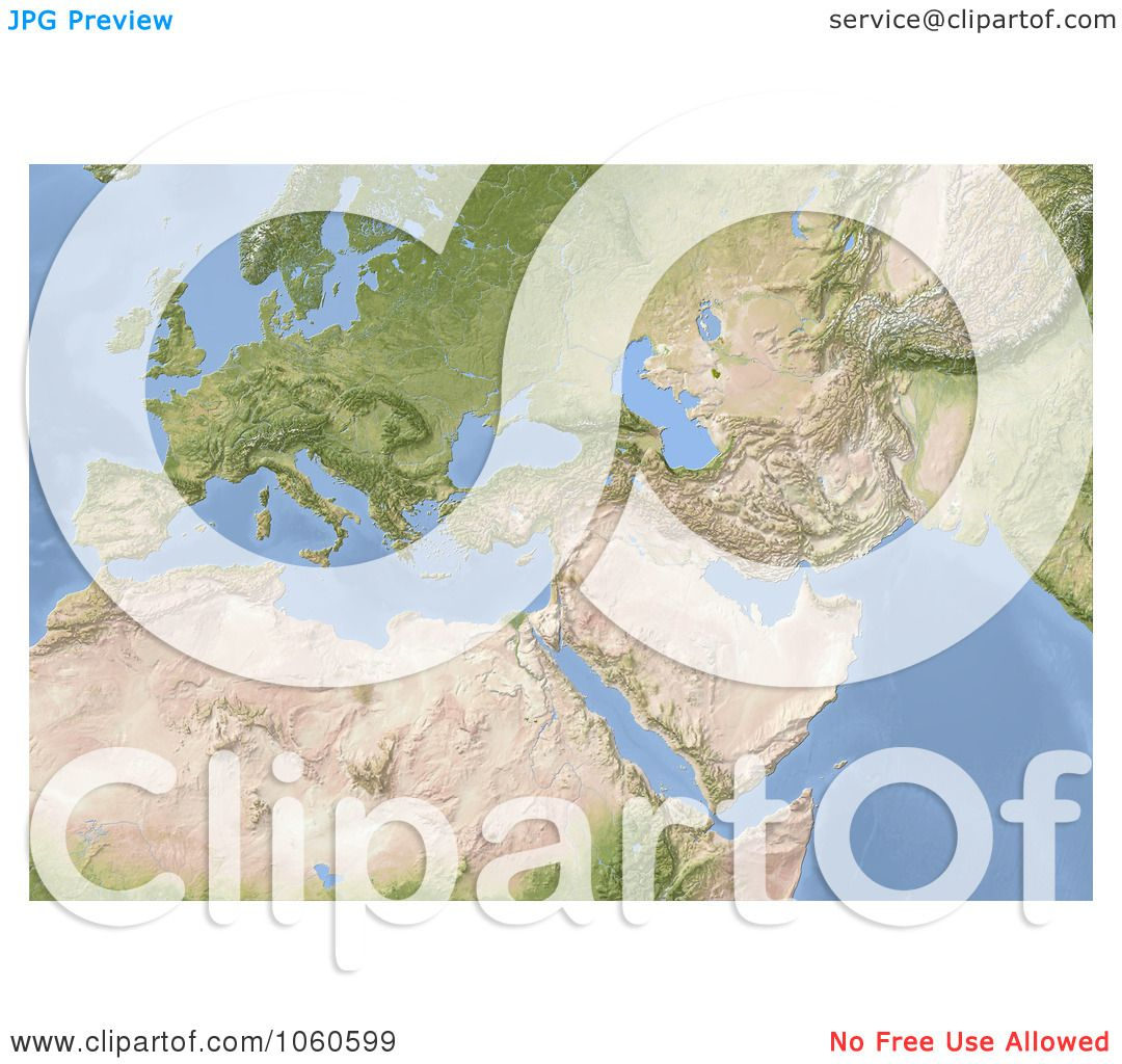 RoyaltyFree CGI Clip Art Illustration of a 3d Shaded Relief Map
