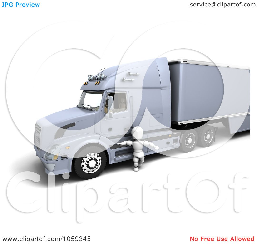 royalty free cgi clip art illustration of a 3d white character truck driver by a big rig by kj. Black Bedroom Furniture Sets. Home Design Ideas
