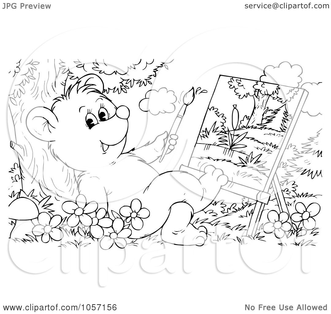 Royalty-Free Clip Art Illustration of a Coloring Page Outline Of A Bear Cub Painting ...