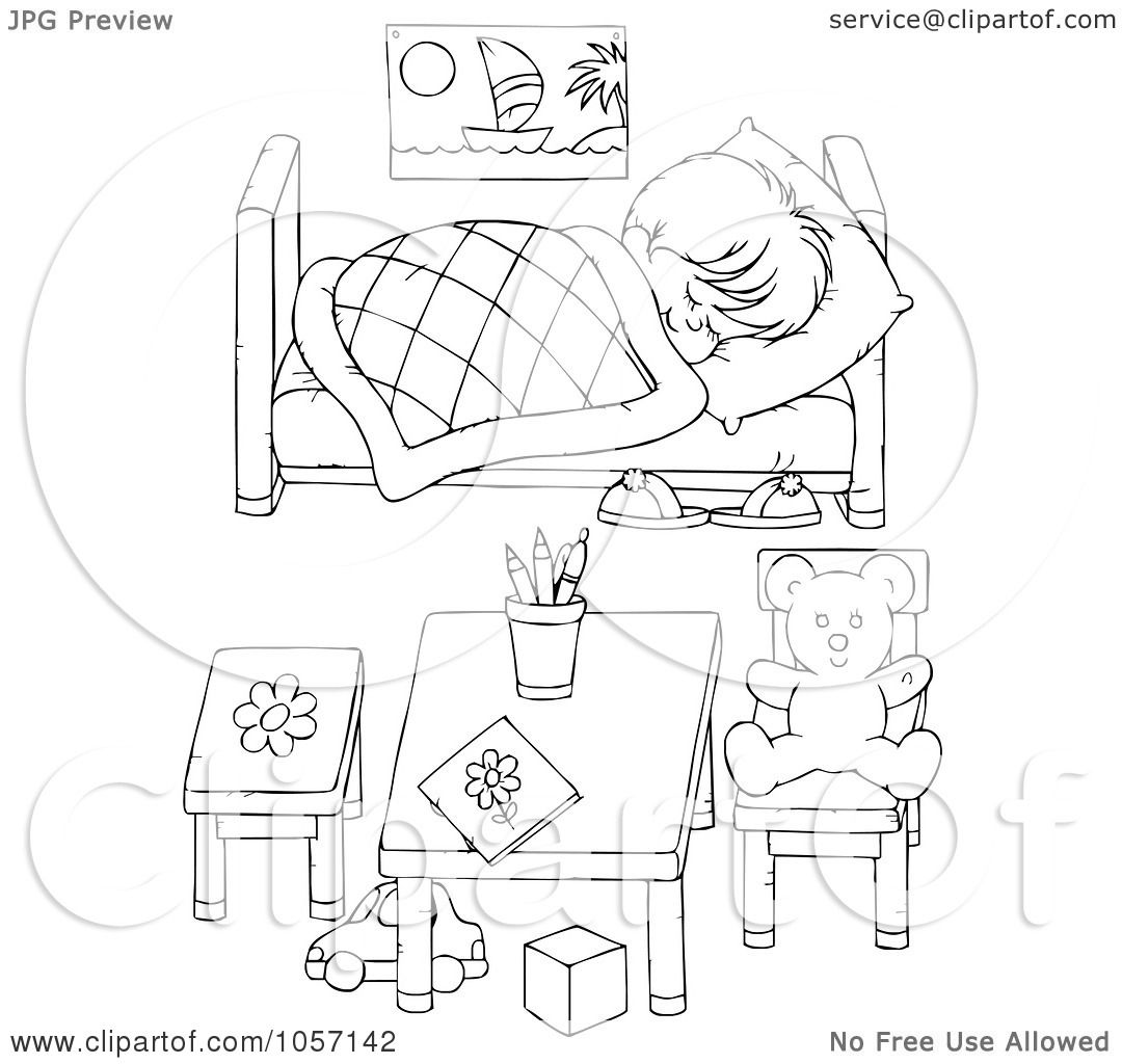 Coloring pages for bedroom - Royalty Free Clip Art Illustration Of A Coloring Page Outline Of A Boy Sleeping In His Bedroom By Alex Bannykh