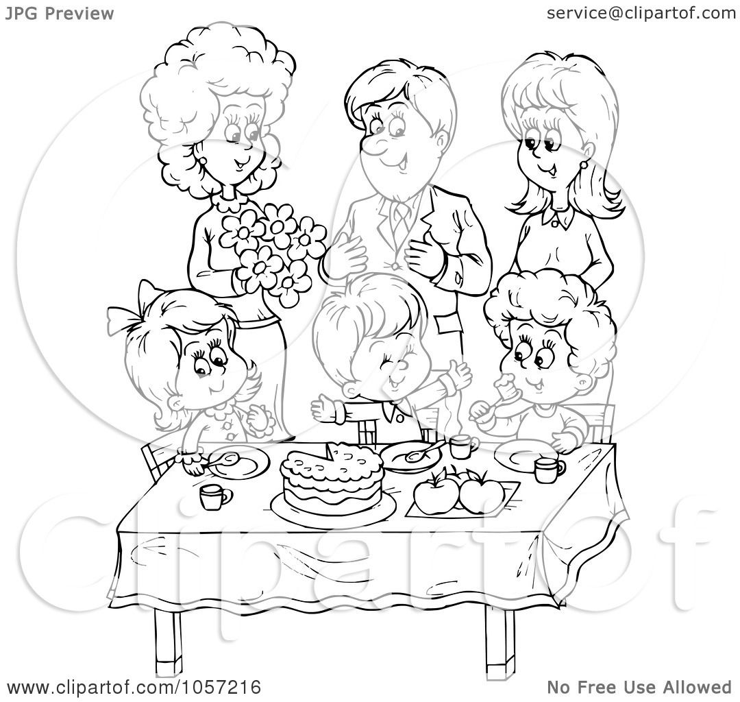 Free Clip Art Black And White Family Celebrations Clipart Vector