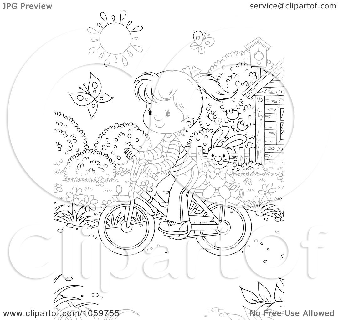 royalty free clip art illustration of a coloring page outline of a girl riding a bicycle by alex bannykh