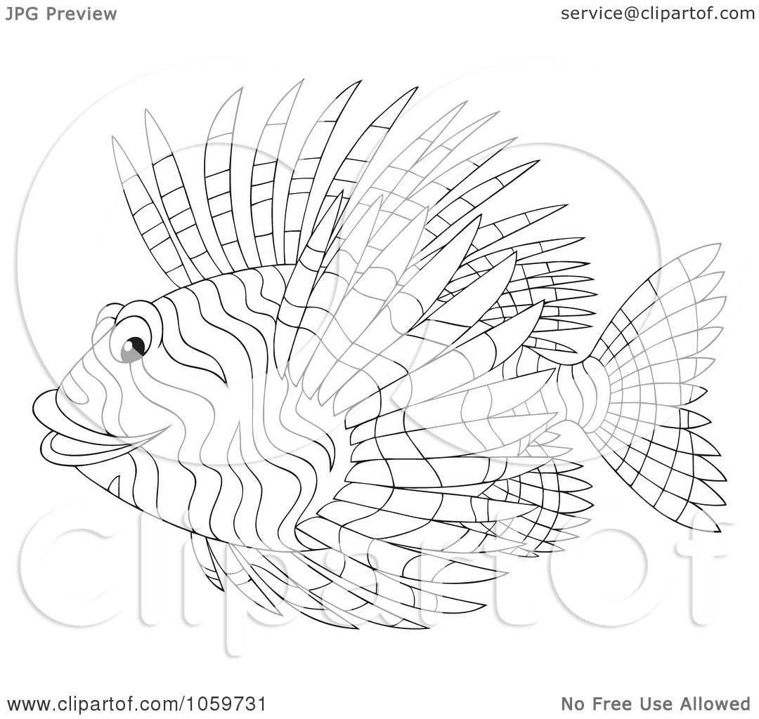 lionfish coloring page - royalty free clip art illustration of a coloring page