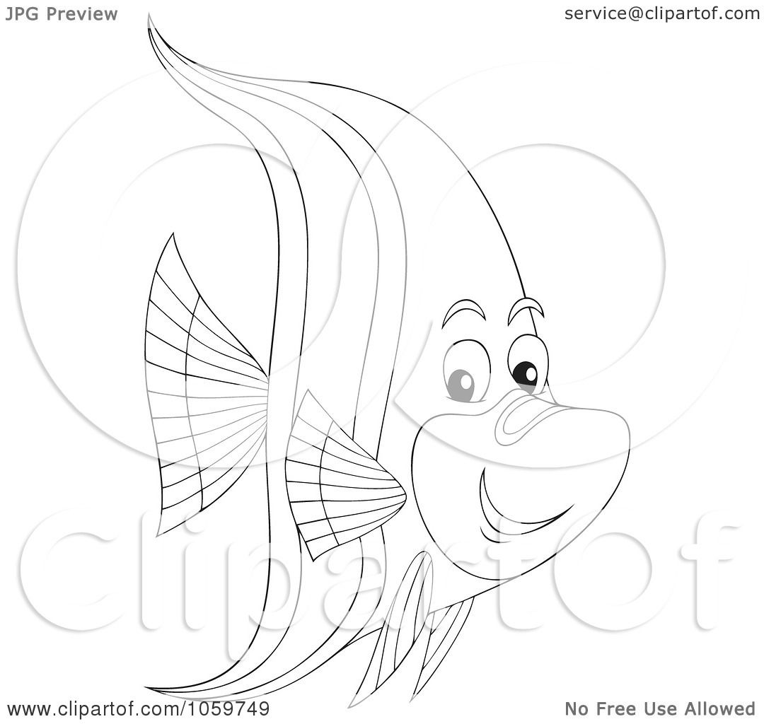 royaltyfree clip art of a coloring page outline of a marine fish by alex bannykh