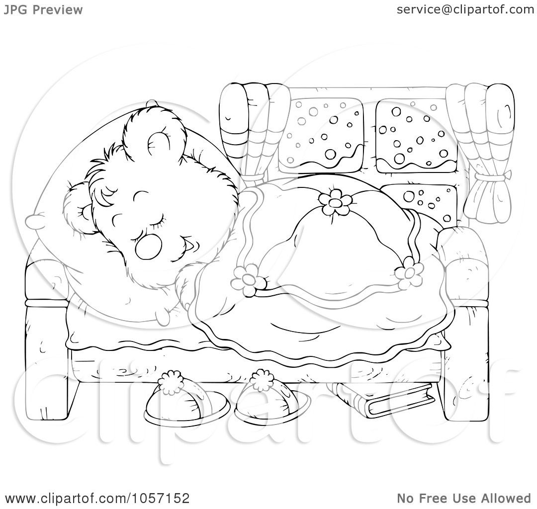 of a Coloring Page Outline Of A Sleeping Bear by Alex ...