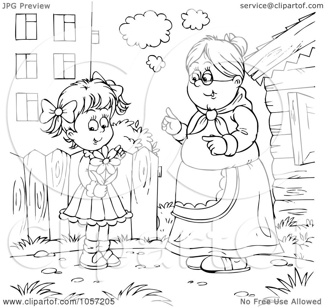 Royalty free clip art illustration of a coloring page for Old lady coloring page
