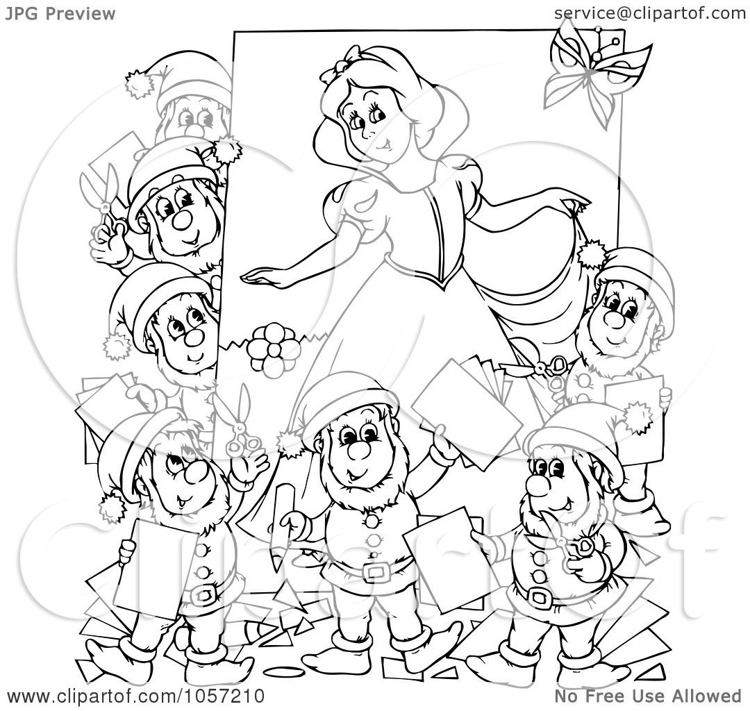 Royaltyfree Clip Art Of A Coloring Page Outline Dwarves And Snow White By Alex Bannykh