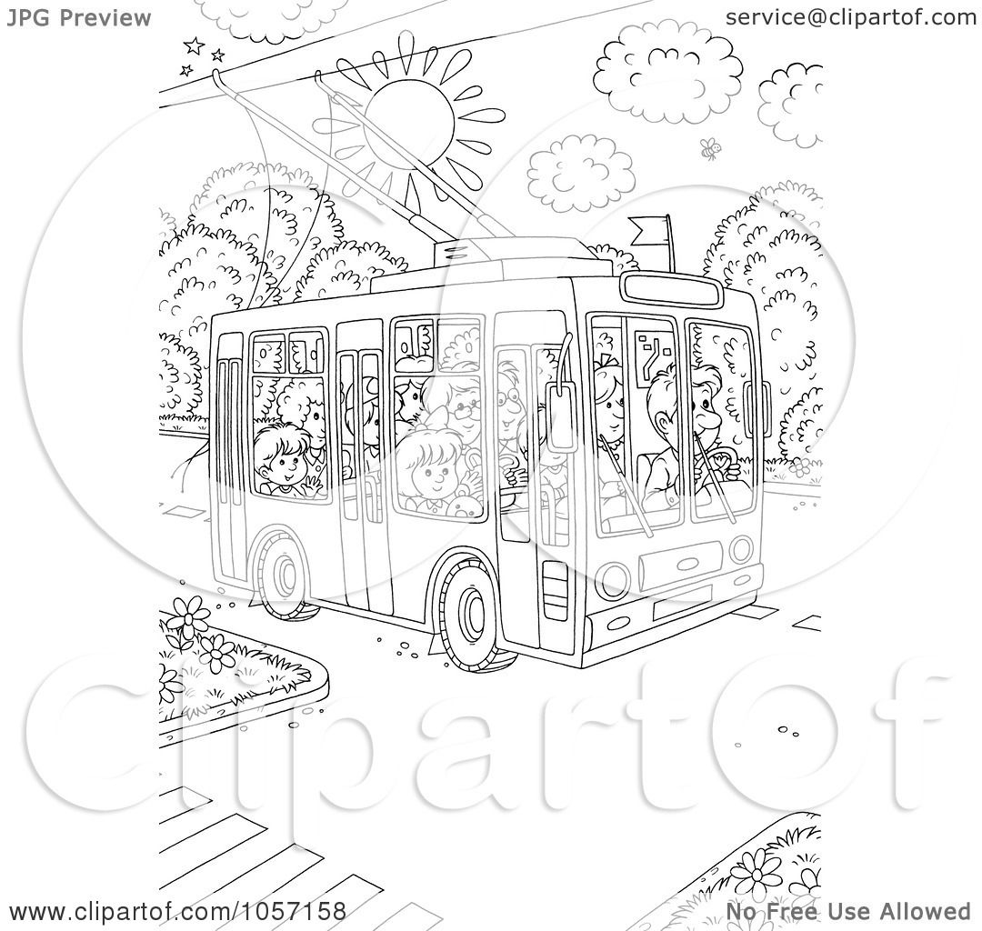Royalty Free Clip Art Illustration Of A Coloring Page Outline People Using Public Tram