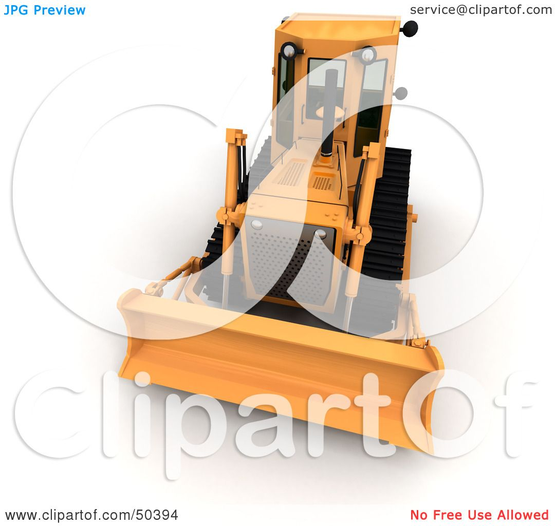 royalty free rf 3d clipart illustration of a front view of a bulldozer by frank boston 50394. Black Bedroom Furniture Sets. Home Design Ideas