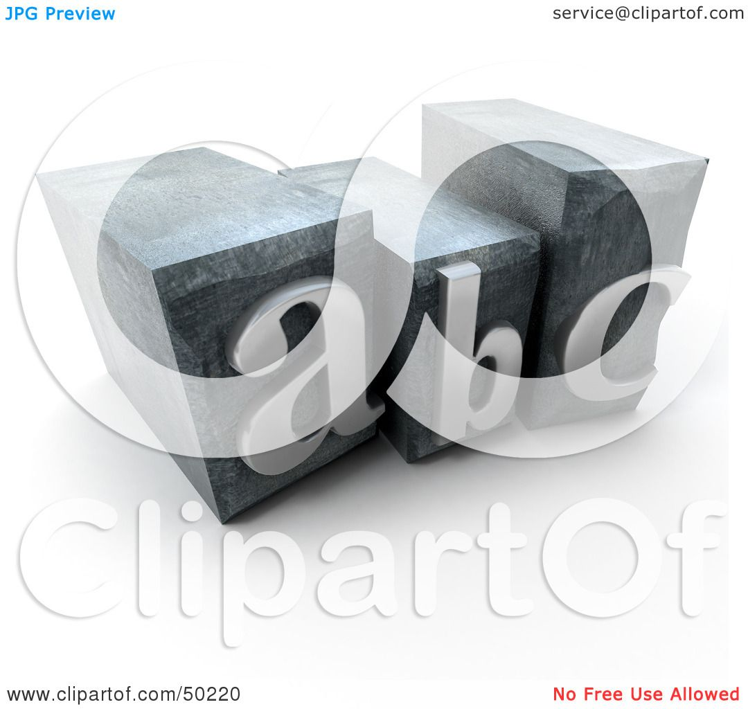 Royalty-Free (RF) 3D Clipart Illustration of ABC Typescript Letters