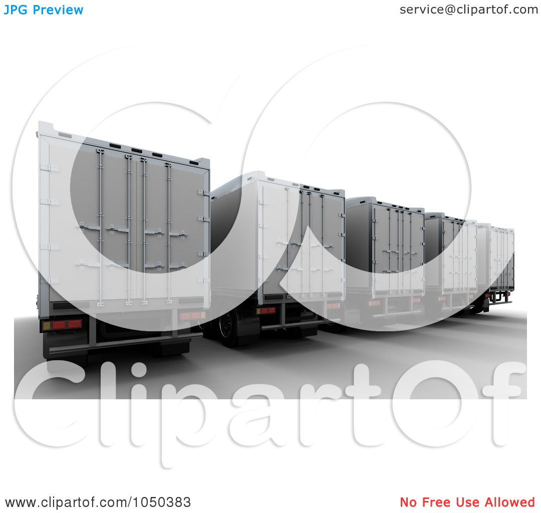 Royalty-Free (RF) Clip Art Illustration of 3d Freight Trailers by KJ ...