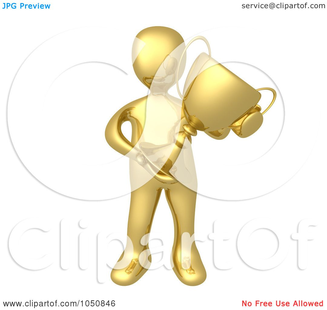 Royalty Free Rf Clip Art Illustration Of A 3d Gold Man