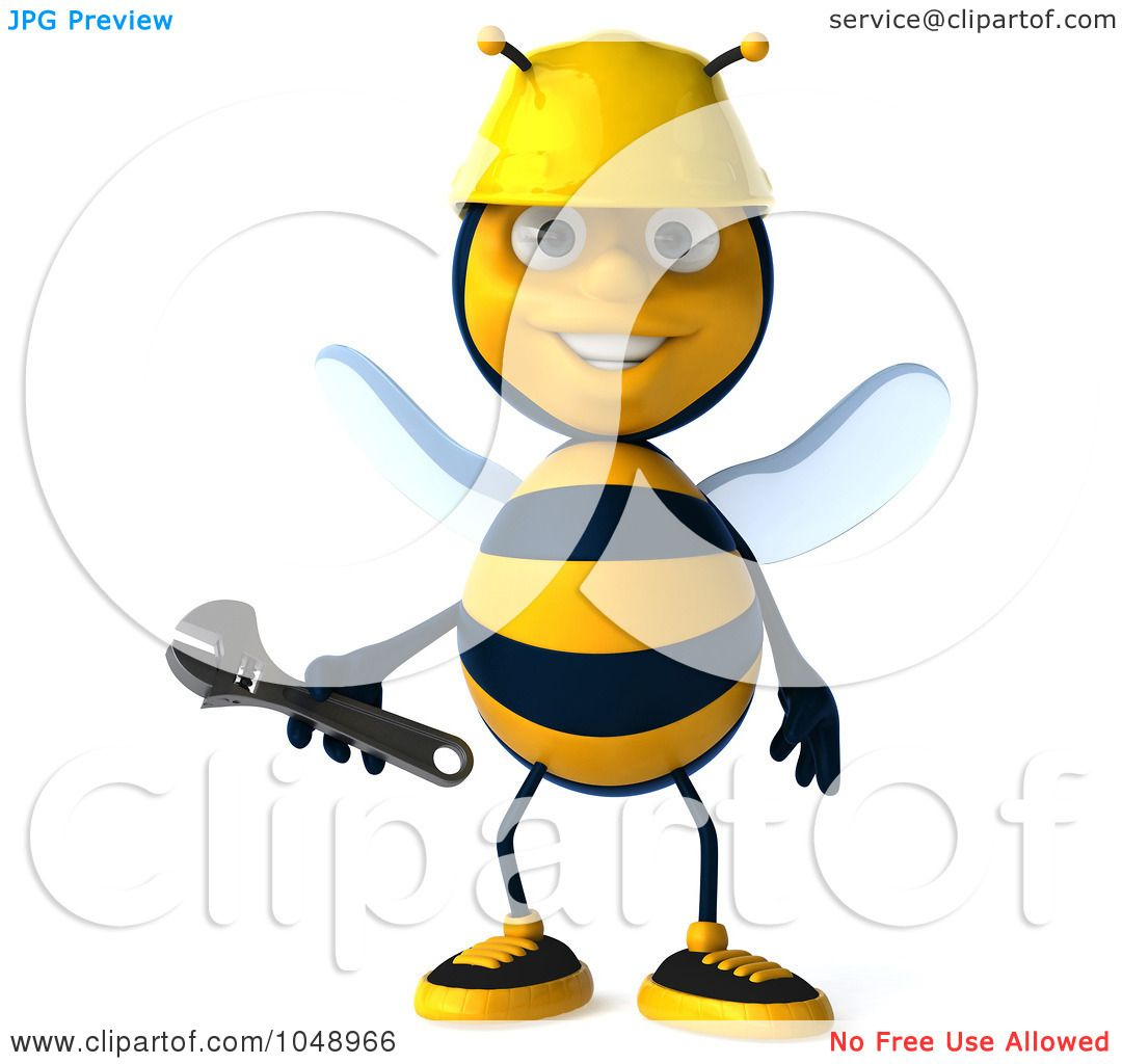 Royalty Free Rf Clip Art Illustration Of A 3d Worker Bee