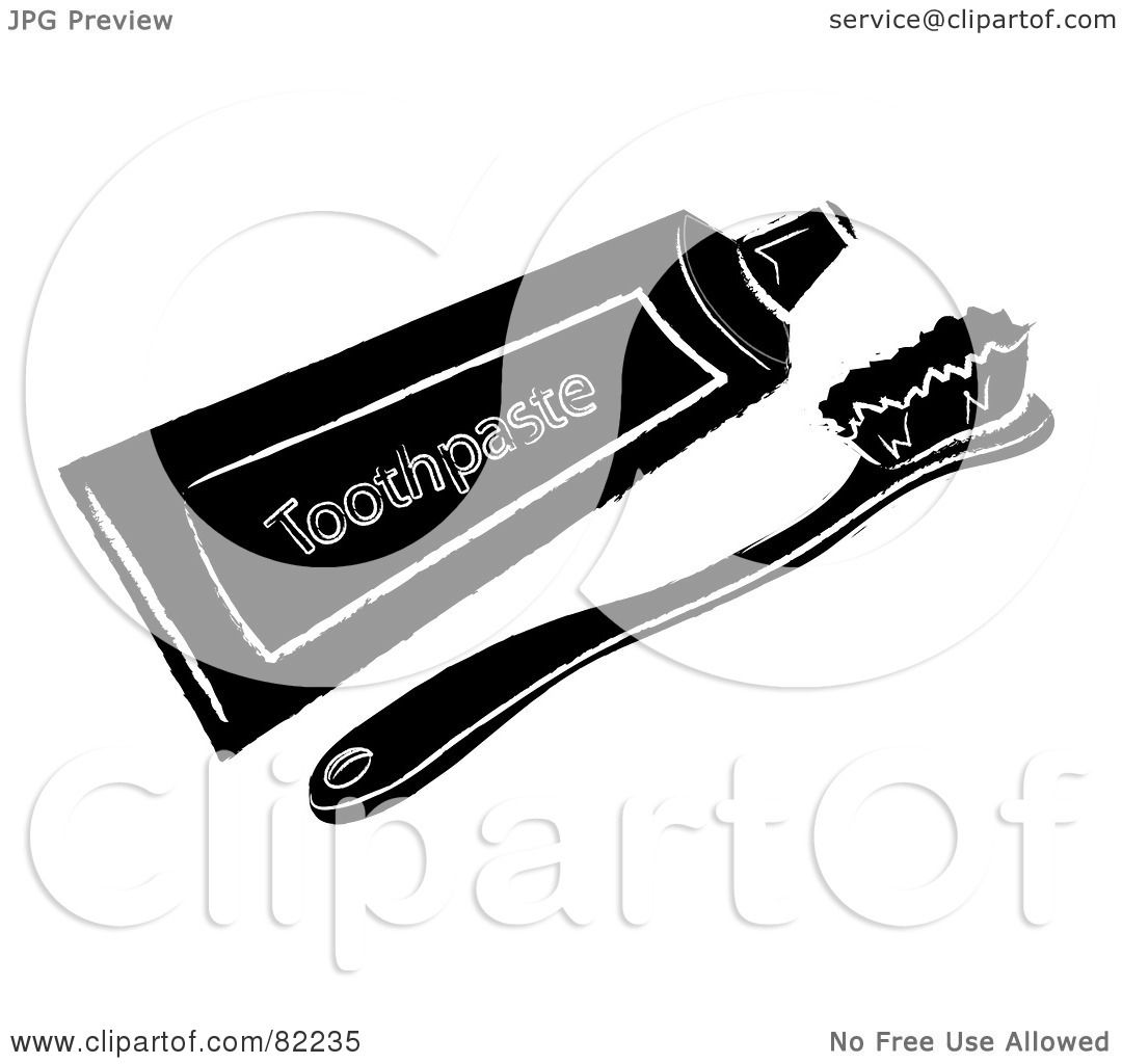 Royalty-Free (RF) Clip Art Illustration of a Black Toothbrush And ...