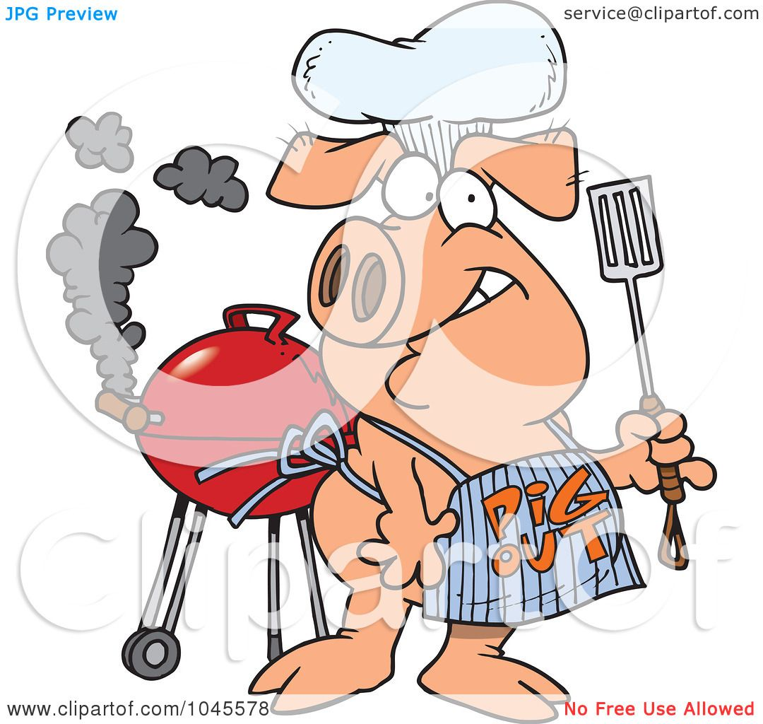 Royalty-Free (RF) Clip Art Illustration of a Cartoon Bbq Pig ...